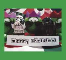 Dave Stormtrooper and Darth Vader Merry Christmas Kids Tee