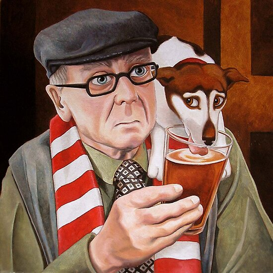 Portrait Art: A penalty and a pint by vickymount