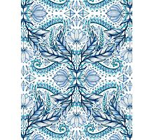 Lily, Leaf & Triangle Pattern - blues Photographic Print