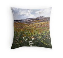 Derbyshire Dales n Daisies Throw Pillow