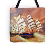 A digital painting of Cutty Sark in Heavy Seas Tote Bag