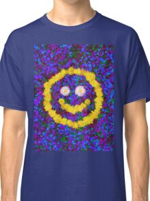Happy Smiley Face Bright Dandelion Flowers  Classic T-Shirt