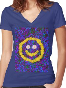 Happy Smiley Face Bright Dandelion Flowers  Women's Fitted V-Neck T-Shirt