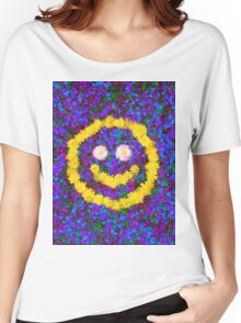 Happy Smiley Face Bright Dandelion Flowers  Women's Relaxed Fit T-Shirt