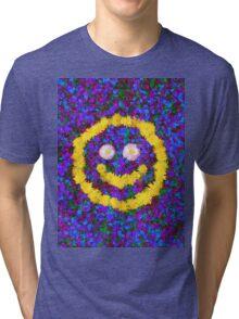 Happy Smiley Face Bright Dandelion Flowers  Tri-blend T-Shirt