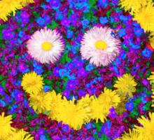 Happy Smiley Face Bright Dandelion Flowers  Sticker