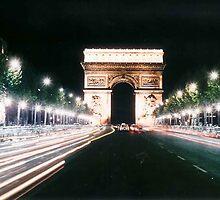 Arc d'Triomphe at Night 1967 by Richard Lederhaus
