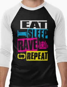Eat Sleep Rave Repeat  Men's Baseball ¾ T-Shirt
