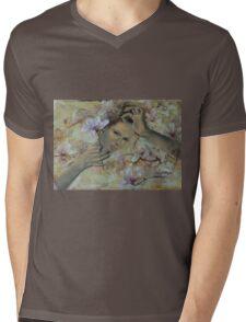 Magnolias Mens V-Neck T-Shirt