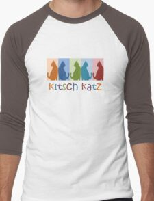 Kitsch Cats Silhouette Cat Collage On Pastel Background Men's Baseball ¾ T-Shirt