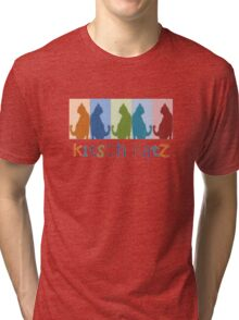 Kitsch Cats Silhouette Cat Collage On Pastel Background Tri-blend T-Shirt