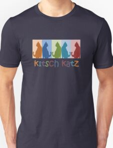 Kitsch Cats Silhouette Cat Collage On Pastel Background Unisex T-Shirt