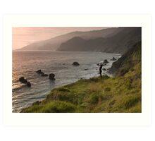 Kirk Creek Yoga at Sunset, California Coast Art Print