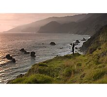 Kirk Creek Yoga at Sunset, California Coast Photographic Print