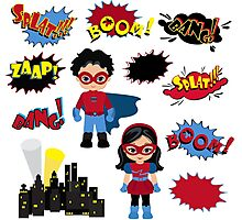 Colorful cartoon text captions. Explosions and noises. Super Boy and Super Girl. Photographic Print
