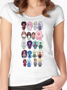Steven Universe Cast in Chibi Style Women's Fitted Scoop T-Shirt