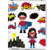 Colorful cartoon text captions. Explosions and noises. Super Boy and Super Girl. iPad Case/Skin