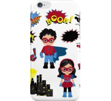 Colorful cartoon text captions. Explosions and noises. Super Boy and Super Girl. iPhone Case/Skin