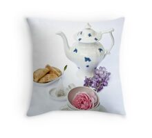 Still life with teapot and almond and rose paste filled cookies Throw Pillow