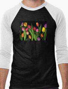 Colorful Tulips Men's Baseball ¾ T-Shirt
