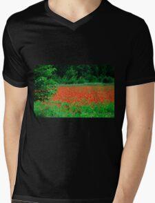 Poppy Field Mens V-Neck T-Shirt