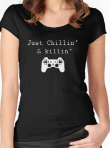 Chillin' & Killin' (Pixel white) Women's Fitted Scoop T-Shirt