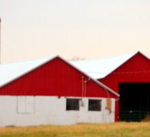 Red And White Barn Sticker