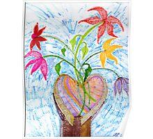 flowers in heart vase Poster