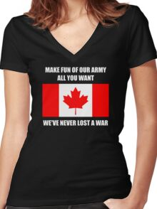 We've never lost a war Women's Fitted V-Neck T-Shirt