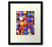 COLOURED COTTON BOBBLES NOW AVAILABLE ON PENCIL SKIRTS AND SCARVES Framed Print