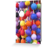 COLOURED COTTON BOBBLES NOW AVAILABLE ON PENCIL SKIRTS AND SCARVES Greeting Card