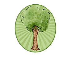Green watercolor tree Photographic Print