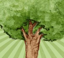 Green watercolor tree Sticker