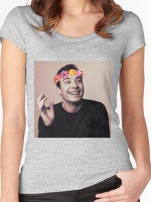 Jimmy Fallon- flower crown Women's Fitted Scoop T-Shirt