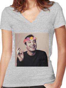Jimmy Fallon- flower crown Women's Fitted V-Neck T-Shirt