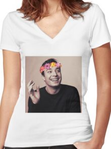 Jimmy Fallon- flower crown Women's Fitted V-Neck T-Shirt