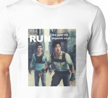 Run like your life depends on it, because it does Unisex T-Shirt