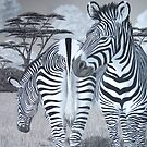 Grazing - Grevy's Zebras by Heather Ward