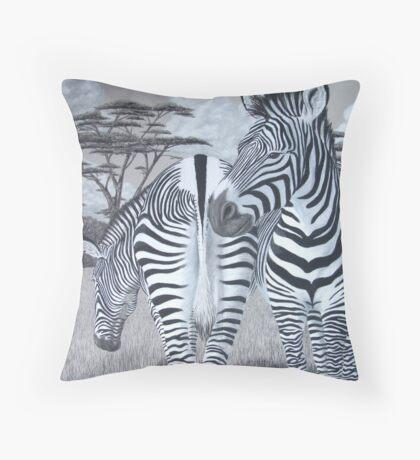 Grazing - Grevy's Zebras Throw Pillow