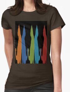 Reflected Images Of A Line Of Cats on Black T-Shirt