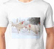 Rescued hens experience snow Unisex T-Shirt