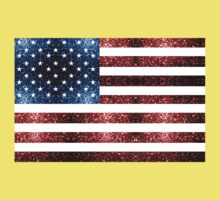 USA flag red & blue sparkles Kids Tee