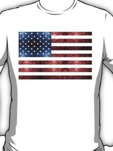 USA flag red & blue sparkles T-Shirt