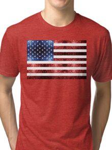 USA flag red & blue sparkles Tri-blend T-Shirt