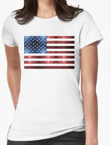 USA flag red & blue sparkles Womens Fitted T-Shirt