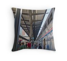 All Aboard The Amtrak Throw Pillow
