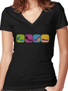 shoes Women's Fitted V-Neck T-Shirt