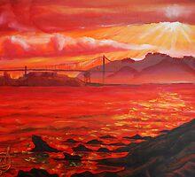 Oil Painting - Golden Gate Bridge and Alcatraz Island from Emeryville, 2009 by Igor Pozdnyakov