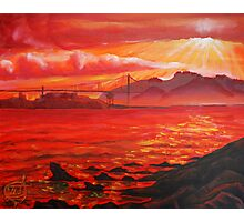 Oil Painting - Golden Gate Bridge and Alcatraz Island from Emeryville, 2009 Photographic Print