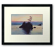 """Sunset Rockaway Beach"" Watercolor Framed Print"